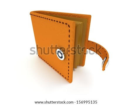 3d render of open brown leather wallet over white background - stock photo
