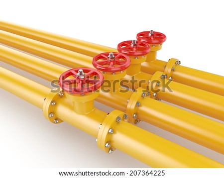 3d render of orange oil pipes with red valve, isolated on white background  - stock photo