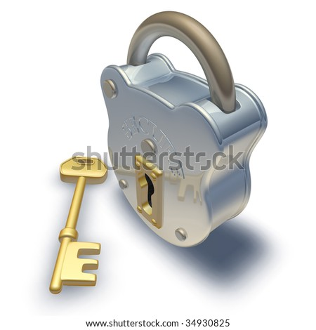 3d render of padlock and key illustration - stock photo