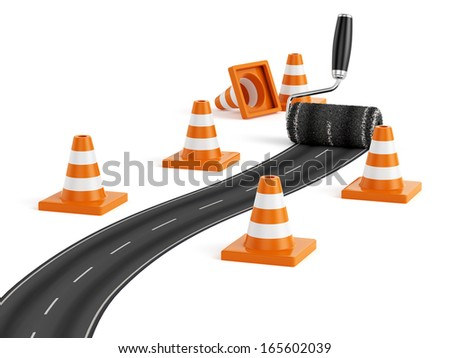 3d render of painting the road with roller brush. Road construction concept  - stock photo