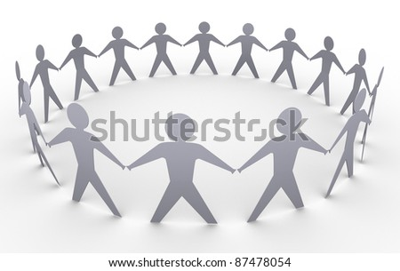 3d render of paper people in a circle - stock photo