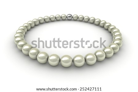3D render of pearls over white background - stock photo