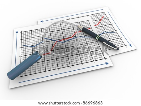 3d render of pen and magnifying glass hovers over business graph papers. - stock photo