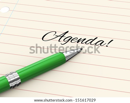 3d render of pen on paper written agenda - stock photo