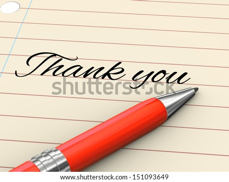 3d render of pen on paper written thank you - stock photo