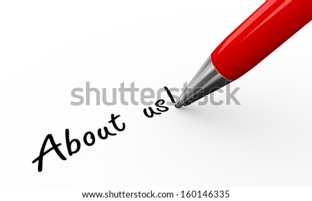 3d render of pen writing about us on white paper background - stock photo