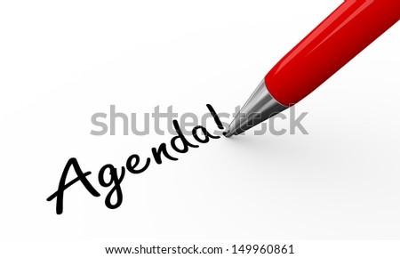 3d render of pen writing agenda on white paper background  - stock photo