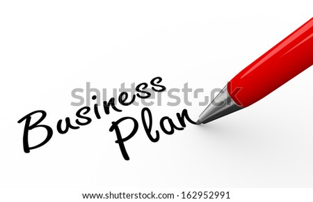 3d render of pen writing business plan on white paper background - stock photo
