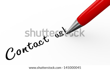 3d render of pen writing contact us on white paper background - stock photo