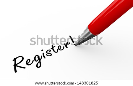 3d render of pen writing register on white paper background