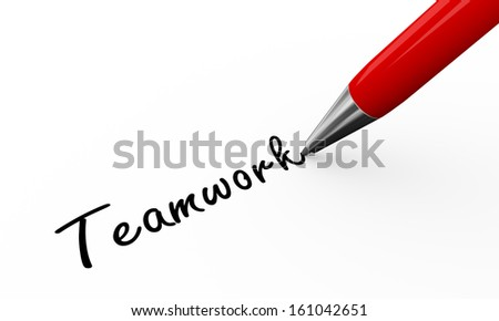3d render of pen writing teamwork on white paper background
