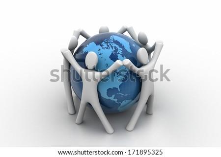 3d render of people around globe - stock photo