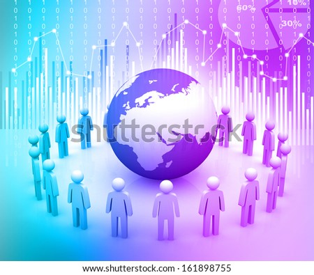3d render of people around globe on abstract background - stock photo