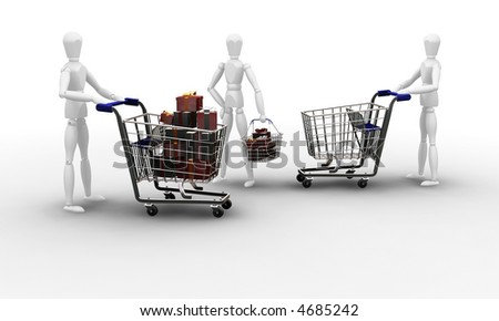 3D render of people Christmas shopping