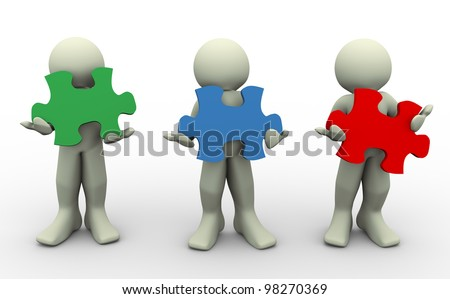 3d render of people holding puzzle piece - stock photo