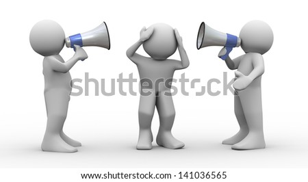 3d render of people speaking loudly to frustrated man using megaphones. - stock photo