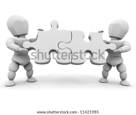 3D render of people with puzzle pieces