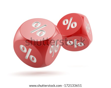 3d render of percent dices falling. Finance concept