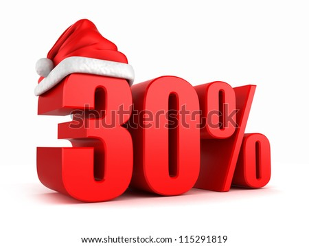 3d render of 30 percent with santa hat - stock photo