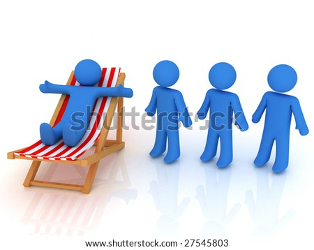 3d render of person on chaise longue and persons waiting in line - stock photo