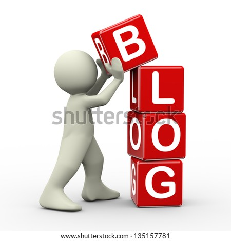 3d render of person placing blog cubes. 3d illustration of human people character. - stock photo