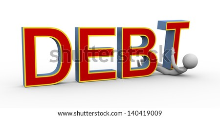 3d render of person under heavy debt.  3d rendering of people human character - stock photo