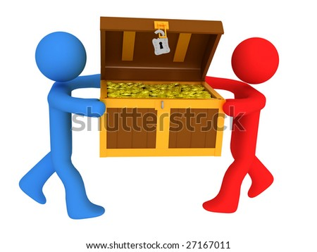 3d render of persons with treasure chest. - stock photo