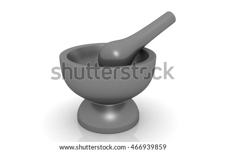 3D render of Pharmacy Mortar and Pestle on white background