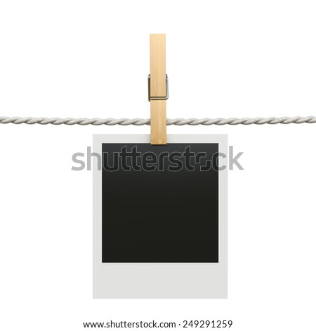 3d render of photo frame with clothespin isolated on white background - stock photo