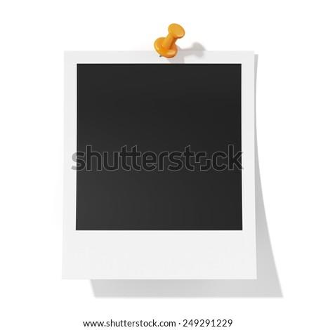 3d render of photoframe with orange pushpin isolatd on white background - stock photo