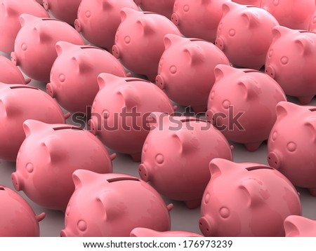 3d render of pink pig money boxes - stock photo