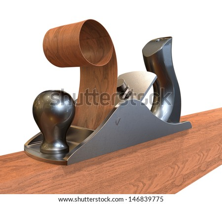 3d render of  planer on wood  - stock photo