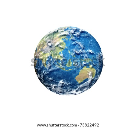 3D render of planet earth. Asia view. Texture from Natural Earth (http://www.naturalearthdata.com). Clouds and bump textures courtesy of Shaded Relief (http://www.shadedrelief.com) - stock photo