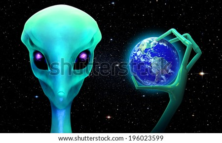 3d render of planet earth  in the hand of an alien. Elements of this image furnished by NASA  - stock photo