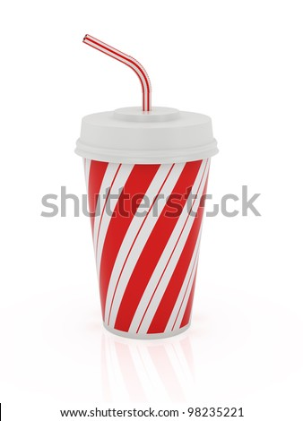 3d render of plastic cup and straw isolated on a white background - stock photo