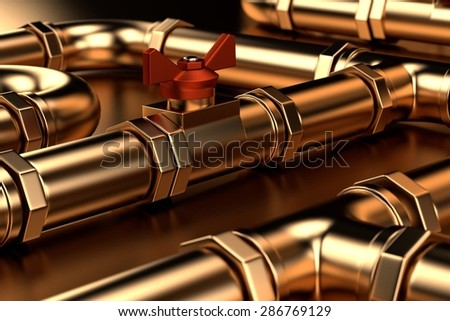 3d render of plumbing pipes - stock photo