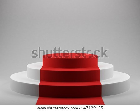 3d render of podium with red carpet - stock photo