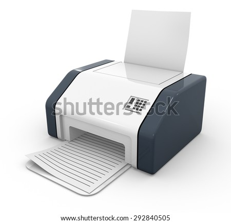 3d render of printer , isolated on white.