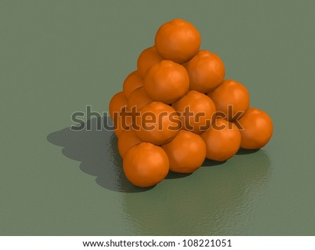 3d render of pyramid of oranges on a green background - stock photo