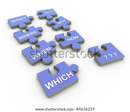 3d render of question words puzzle pieces - stock photo