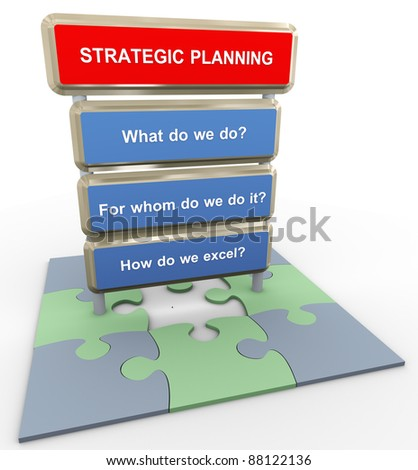 3d render of questions related to strategic planning on puzzle pieces - stock photo