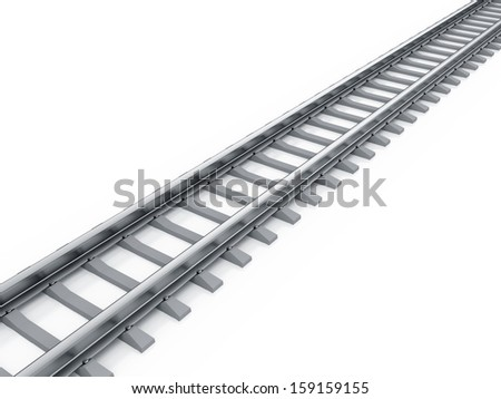 3d render of railway isolated on white background - stock photo