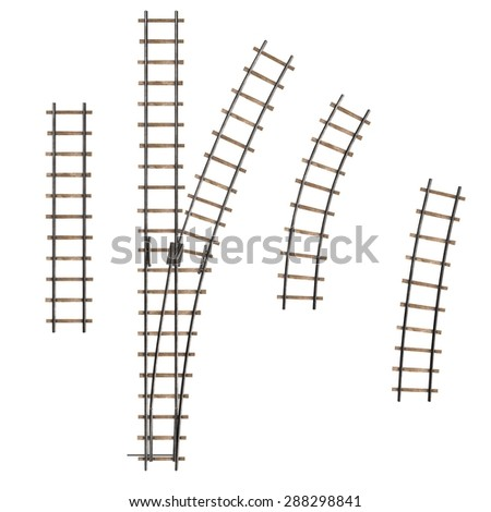 3d render of railway track parts - stock photo