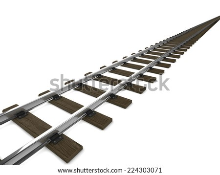 3d render of railway tracks - stock photo