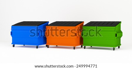 3d render of realistic colorful trash boxes. - stock photo