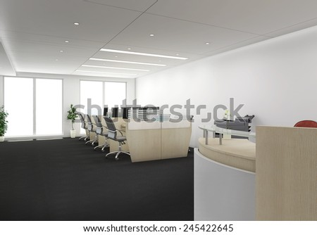 3d render of receptionist desk with office cubicles - stock photo