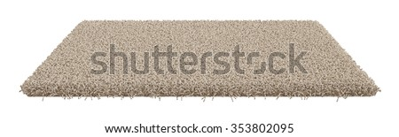 3d render of rectangle carpet isolated on white background - stock photo
