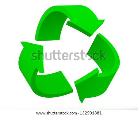 3D Render of Recycling Symbol Isolated on the White Background - stock photo