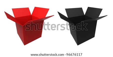 3d render of  red and black box on a white background