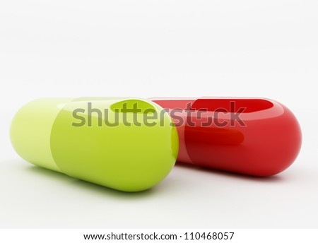 3d render of red and green capsule